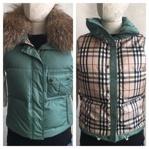 Burberry Puffer Vest Convertible Raccoon Fur